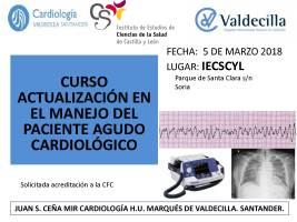 Cartel Curso Actualización en el Manejo del Paciente Agudo Cardiológico.
