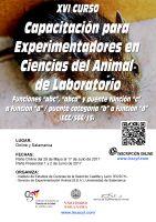 Cartel XVI Curso de Capacitación para Experimentadores en Ciencias del Animal Laboratorio.