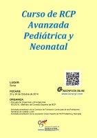 Cartel Curso de RCP Avanzada Pediátrica y Neonatal.