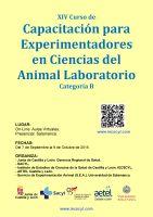 Cartel XIV Curso de Capacitación para Experimentadores en Ciencias del Animal Laboratorio. Categoría B.