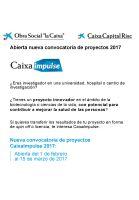 Cartel Nueva convocatoria de proyectos CaixaImpulse 2017