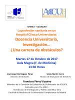 Cartel Charla - Coloquio: La profesión sanitaria en un Hospital Clínico Universitario.