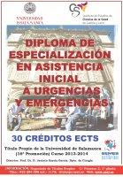 Cartel Diploma de Especialización en asistencia inicial a urgencias y emergencias (Semi-presencial). 16ª Promoción. Título Propio de la Universidad de Salamanca.