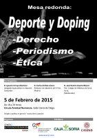 Cartel Mesa redonda. Doping y Deporte: Derecho, Periodismo, Ética.