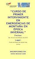 Cartel Curso de Primer Interviniente en Emergencias de Montaña en Época Invernal