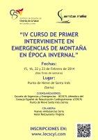 Cartel IV Curso de Primer Interviniente en Emergencias de Montaña en Época Invernal.