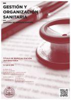 Cartel Diploma de Especialización en Gestión y Organización Sanitaria (Semi-presencial - online). 4ª Promoción. Título Propio de la Universidad de Salamanca.