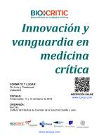 Cartel Curso Innovación y Vanguardia en Medicina Crítica 2018.