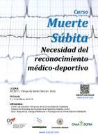 Cartel Curso de Muerte Súbita: Necesidad del reconocimiento médico-deportivo.