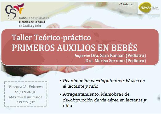 Cartel Taller Teórico-práctico Primeros Auxilios en Bebés.