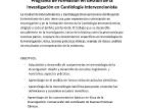 Programa de Formación en Gestión de la Investigación en Cardiología Intervencionista